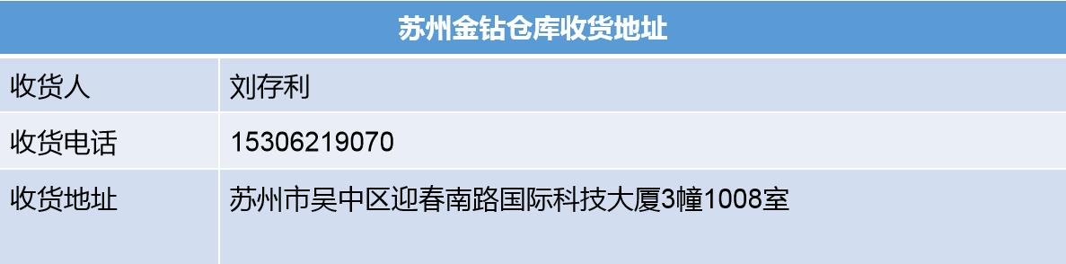 蘇州金鉆收貨地址