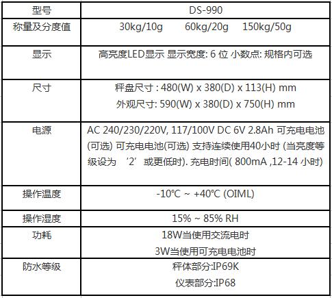 寺冈防水电子秤DS-990参数